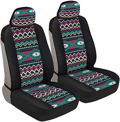 BDK Pink Inca Pattern Car Seat Covers, Front Seats Only – Geometric Print Front Seat Cover Set with Matching Headrest, Sideless Design for Easy Installation, Universal Fit for Car Truck Van and SUV