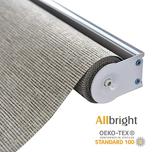 ALLBRIGHT Thermal Insulated Fabric 100% Blackout UV Protection Rialto Emboss Cordless Roller Shades for Windows, Easy to Install, Coffee, 35''W x 72''H
