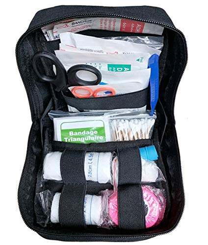 GHFY EMT Medical First Aid Kit IFAK Pouch, Tactical Molle Compatible Outdoor Gear Emergency Kits Trauma Bag for Camping, Home, Hiking, Hunting (Black)