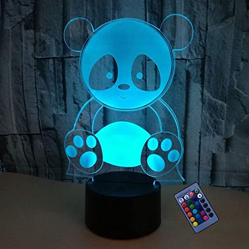 Optical Illusion 3D Panda Night Light 16 Colors Changing USB Power Remote Control Touch Switch Decor Lamp LED Table Desk Lamp Children Kids Christmas Xmas Brithday Gift