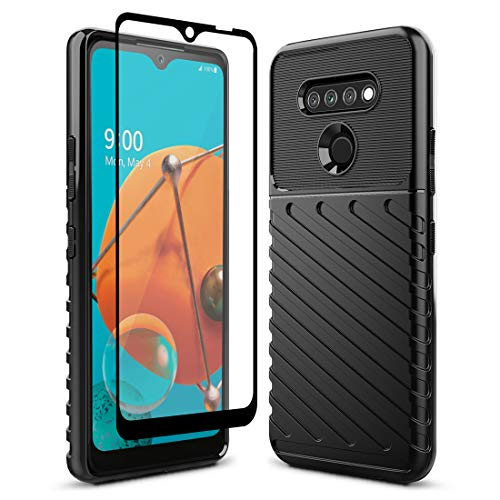 Sucnakp LG K51 Case LG Reflect Case LG Q51 Case with Screen Protector Shock Absorption Anti Scratch Heavy Duty Durable Drop Protection Cell Phone Cover for LG K51(LT Black)