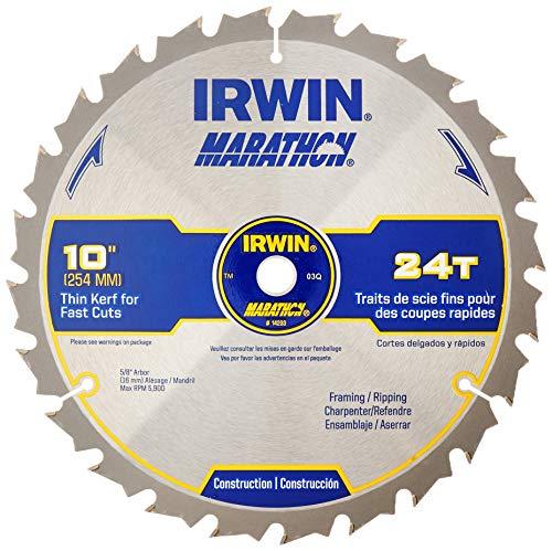 IRWIN Tools MARATHON Carbide Table / Miter Circular Saw Blade, 10-Inch, 24T (24233)