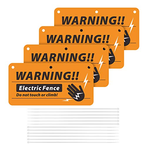 Magicfour Electric Fence Signs, 4 Pack Electric Fence Warning Signs 4'' x 8'' Plastic Electric Fence Safe Signs No Touching or Climbing Sign with Zip Ties for Electric Fence to Protect Farm Home