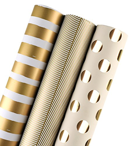 WRAPAHOLIC Wrapping Paper Roll - Gold Print for Birthday, Holiday, Wedding, Baby Shower Wrap - 3 Rolls - 30 inch X 120 inch Per Roll
