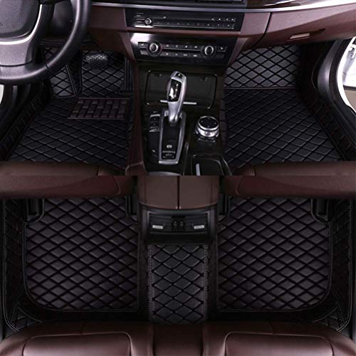 8X-SPEED Custom Car Floor Front and Rear Mats Set for Toyota Honda Nissan Mazda Chevy and Other Brand Full Coverage All Weather Protection Waterproof Non-Slip Anti-Scratch Leather Black