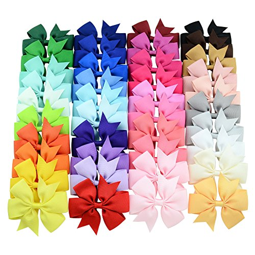 3 inch Solid Color Grosgrain Ribbon Baby Girls Hair Bows Alligator Clips Hair Accessories for Infants Toddlers Kids Teen (40Pcs/Color(1-40))
