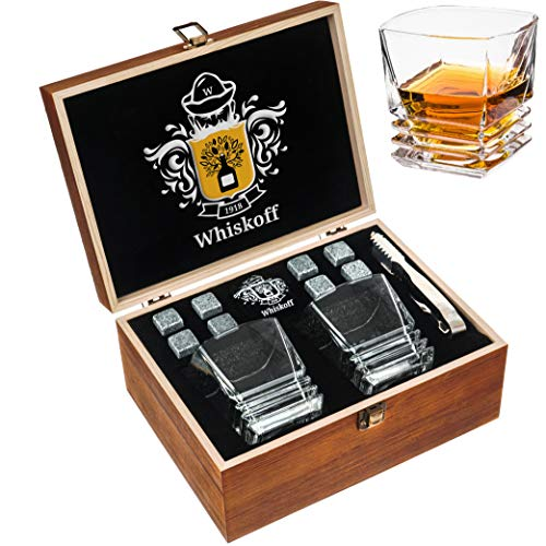 Whiskey Stones Gift Set - Heavy Base Glasses For Scotch Bourbon Drinker- Whisky Rocks Chilling Stones in Wooden Gift Box - Burbon Gift Set for Men - Idea for Birthday, Anniversary, Fathers Day