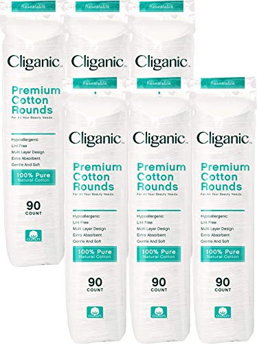 Cliganic Premium Cotton Rounds | Makeup Remover Pads, Hypoallergenic, Lint-Free | 100% Pure Cotton (540 Count)