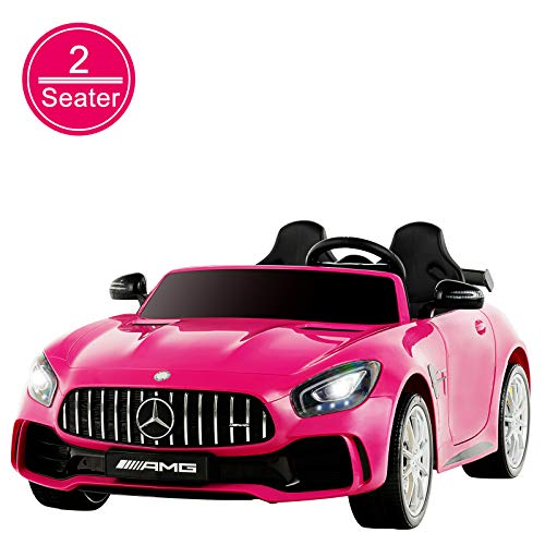 Uenjoy 2 Seater 12V Electric Kids Ride On Car Mercedes Benz AMG GTR Motorized Vehicles with Remote Control, Battery Powered, LED Lights, Wheels Suspension, Music, Horn, Compatible with Mercedes,Pink