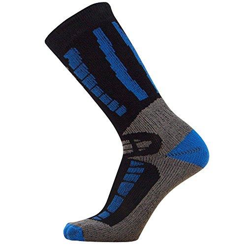 Pure Athlete Youth Ski Socks - Merino Wool Children Skiing/Snowboard Sock - Junior OTC Ski Socks (S/M, Black/Blue)