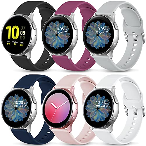 Lerobo 6 Pack Compatible for Samsung Galaxy Active 2 Watch Band 40mm 44mm/ Active Watch Band, Galaxy Watch 3 Band 41mm, Galaxy Watch 42mm Band, 20mm Soft Silicone Bands Replacement for Women Men Small