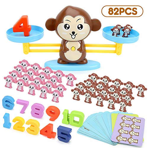 BeebeeRun Monkey Balance Counting Toys,82 Piece Cool Math Games for Kindergarten, Educational Number Learning Toys,Fun Children's Gift & Kids Toy STEM Learning Ages3+