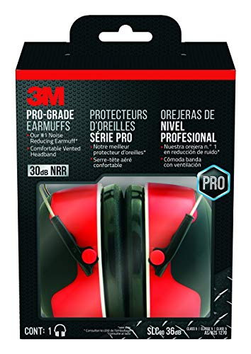 3M Pro-Grade Noise-Reducing Earmuff, NRR 30 dB, Lightweight and Adjustable