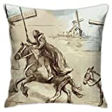 Antvinoler Don Quixote Pillows Case Soft Throw Pillow Double-Sided Digital Printing Couch Pillowcase Square 45cm45cm