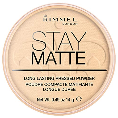 Rimmel London Stay Matte Long Lasting Pressed Powder, Transparent [001] 0.49 Ounce (Pack of 1) (packaging may vary)
