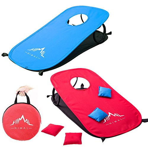 Himal Collapsible Portable Corn Hole Boards With 10 Cornhole Bean Bags And Tic Tac Toe Game 2 Games on 1 Board (2 x 1-feet)