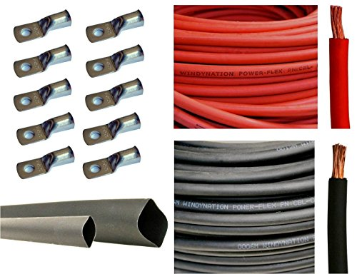 8 Gauge 8 AWG 20 Feet Red + 20 Feet Black Welding Battery Pure Copper Flexible Cable + 10pcs of 3/8' Tinned Copper Cable Lug Terminal Connectors + 3 Feet Black Heat Shrink Tubing