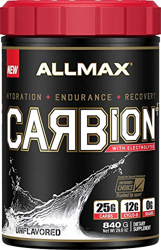 ALLMAX Nutrition CARBion+ with Electrolytes + Hydration, Gluten-Free + Vegan Certified, Unflavored, 1.85 lbs (840 g)