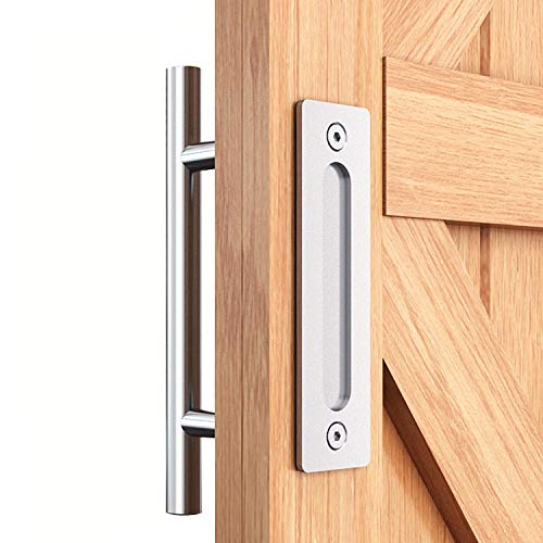EaseLife 12' Sliding Barn Door Pull Handle with Flush Hardware Set,Stainless Steel,Heavy Duty,Brushed Finish,Anti-Rust Anti-Corrosion,Easy Install