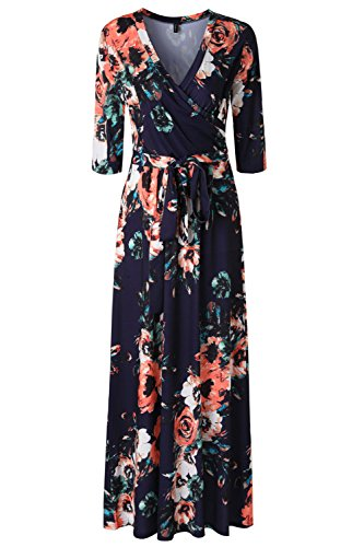 Zattcas Womens 3/4 Sleeve Floral Print Faux Wrap Long Maxi Dress With Belt multi navy X-Large