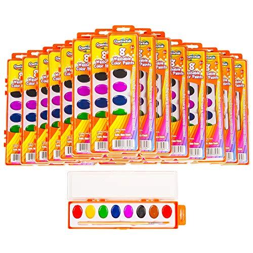 Creative Kids Bulk Watercolor Paint Classroom Classpack Sets – 40 Assorted Palettes w/ 8 Color Paints & Wooden Brush for Party Favors Preschool, Kindergarten, School & Art Crafts Supplies
