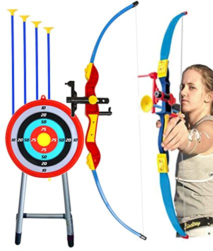 Toy Bow & Arrow Archery for Kids 32' with Target & Quiver, Suction Arrow 22', Big Target Practice 16' with Stand, Pretend Play, Safe Children Game Set