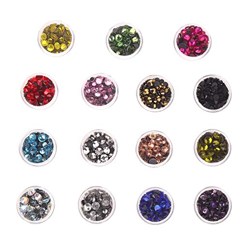 Heat Fix Rhinestones 3-6mm 7800PC 15 Colors Mixed Size Flatback Rhinestones HotFix Round Crystal for Clothes Shoes Crafts by CCINEE