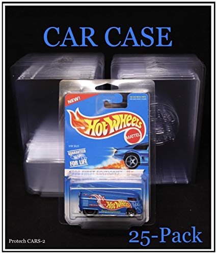 ProTech SSCARS-2 Storage/Display Space Saver Car Case for Carded Hot Wheels, 4.25' W x 6.5' H x 1.25' D, 25-Pack