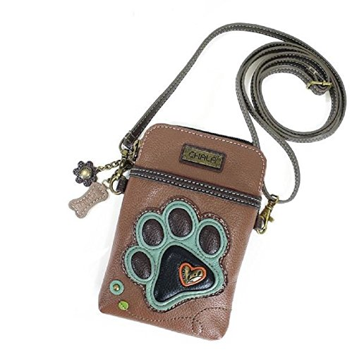 Chala Crossbody Cell Phone Purse - Women PU Leather Multicolor Handbag with Adjustable Strap - Paw Print Brown