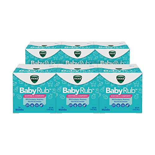 Vicks BabyRub, Chest Rub Ointment with Soothing Aloe, Eucalyptus, Lavender, and Rosemary, from The Makers of VapoRub, 1.76 oz Each (Pack of 6)
