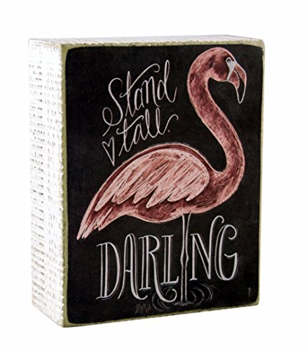 Primitives by Kathy Stand Tall Darling Flamingo Themed Decorative Wooden Box Sign