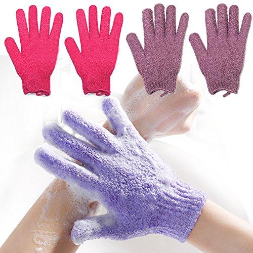 2 Pair Exfoliating Body Gloves Bath Scrub Wash Mitts Skin Massage Sponge Towel Deep Cleansing Dead Skin Brush Scrub Luxury Spa Loofah (red&purple)