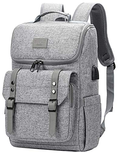 Vintage Backpack Travel Laptop Backpack with usb Charging Port for Women & Men School College Students Backpack Fits 15.6 Inch Laptop Grey
