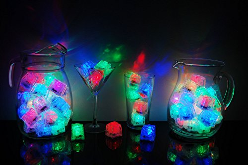 Litecubes Brand 8 Mode MultiColor Rainbow Light up LED Ice Cubes (72)