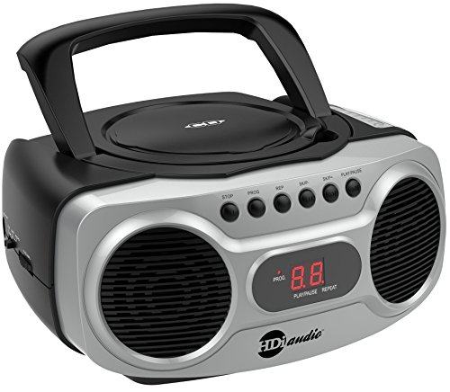 HDi Audio Sport Portable Stereo CD Boombox CD-518 Portable CD Player with AM/FM Radio and Aux Line-in Boombox Black/Silver