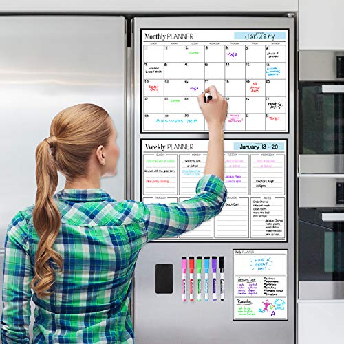 Magnetic Dry Erase Calendar Bundle for Fridge: 3 Boards Included - Monthly, Weekly, Daily Calendar Whiteboard 17x12' - 6 Fine Tip Markers and Large Eraser with Magnets, Refrigerator White Board Wall