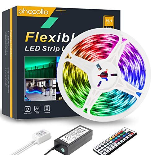 PHOPOLLO LED Strip Lights, 16.4FT Waterproof 5050 150LEDs RGB Flexible LED Lights for Bedroom with 44-Key IR Remote Controller and 12V Power Supply, Ideal for House and Holiday Decoration