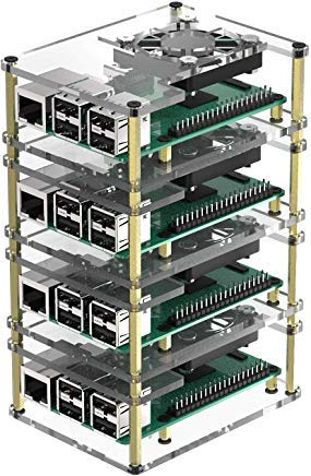 Micro Connectors Four (4) Layer Stackable Acrylic Raspberry Pi 3 Case for Model B B+ and Pi 4 Enclosure with Fan and Heatsinks - Clear (RAS-PCS46)