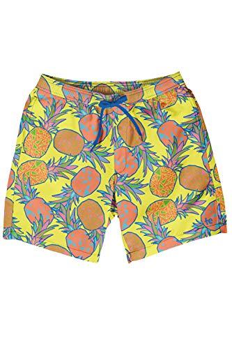 Tipsy Elves Men's Short Swim Trunks - Bright Neon Board Shorts for Vacation (Pina Colada, Medium)