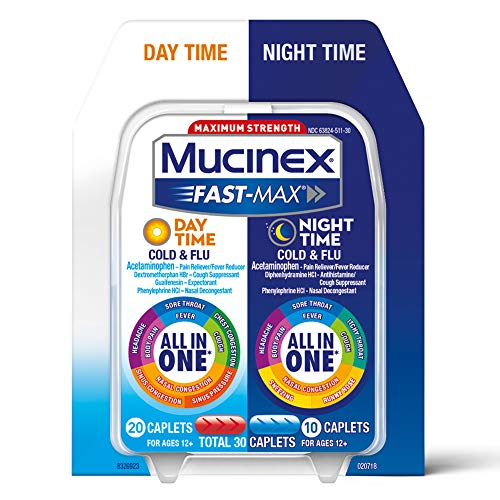 Mucinex Fast-Max Day Time Cold & Flu and Night Time Cold & Flu Medicine, 30 Caplets, Maximum Strength All in One Multi Symptom Relief for Congestion, Sore Throat, Headache, Cough and Reduces Fever