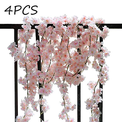 AKSIPO 4Pcs Artificial Cherry Blossom Wall Hanging Cherry Vine Silk Floral Garland Pink Flowers String Fake Flowers Garland for Home Wedding Arch Outdoor Garden Wall Decor Party Decoration