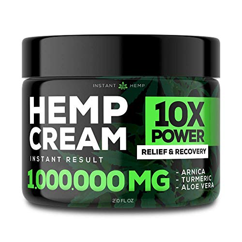 Instant Hemp Pain Relief Cream - 1,000,000 Mg - Relieve Muscle, Joint & Arthritis Pain - Natural Hemp Extract for Arthritis, Foot & Back Pain - 2oz