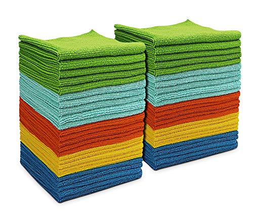 AIDEA Microfiber Cleaning Cloths All-Purpose Softer Highly Absorbent, Lint Free - Streak Free Wash Cloth for House, Kitchen, Car, Window, Gifts(12in.x 12in.)--(Pack-50)