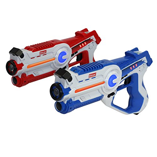 Kidzlane Infrared Laser Tag Game - Set of 2 Red / Blue - Infrared Laser Guns Indoor and Outdoor Activity. Infrared 0.9mW