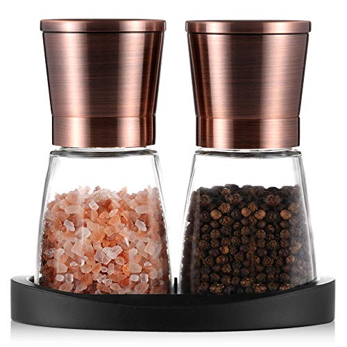 Pepper Grinder, Salt and Pepper Mills with Silicone Stand (2 pcs) Brozen Painting Stainless Steel, Set of Salt and Pepper Grinders with Easy Adjustable Ceramic Coarseness, Glass Body