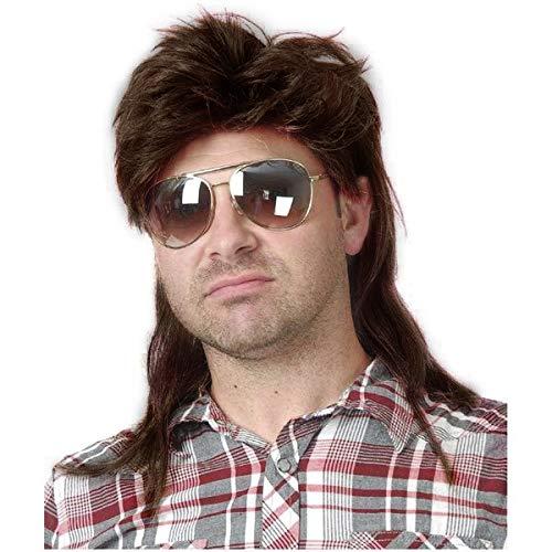 Baruisi 80s Men's Mullet Wig Brown Cosplay Halloween Wig for Fancy Dress