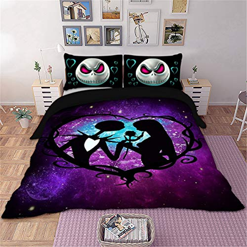 Skull Bedding Set Queen Nightmare Before Christmas Printed Bedding Duvet Cover with Zipper Closure Soft Microfiber Bedding Duvet Cover forTeens Adults Girls