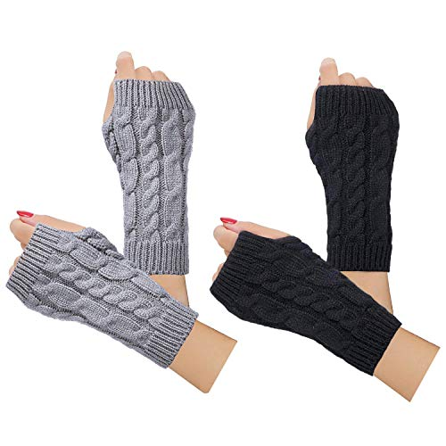 2/3 Pairs Winter Warm Knit Fingerless Gloves for Women Cable Fingerless Arm Warmers Mittens(01-2Pairs,Black+Lightgray)
