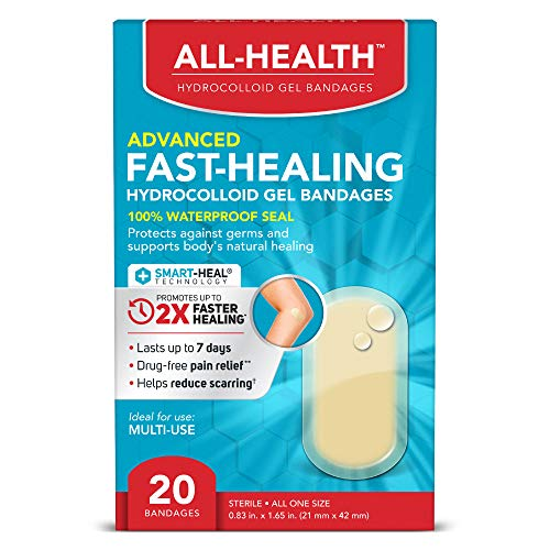 All Health All Health Advanced Fast Healing Hydrocolloid Gel Bandages, Regular 20 ct | 2X Faster Healing for First Aid Blisters or Wound Care, 20 Count