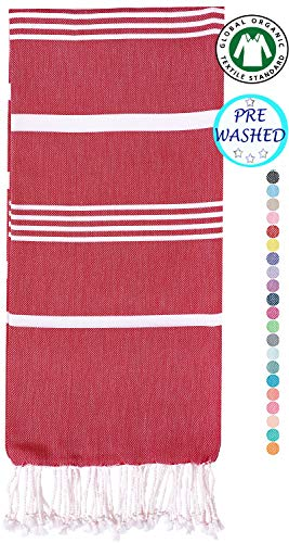 Organic Beach Towel (36 x 70) - Prewashed Peshtemal, 100% Cotton - Highly Absorbent, Quick Dry and Ultra-Soft - Washer-Safe, No Shrinkage - Stylish, Eco-Friendly - Tea Berry